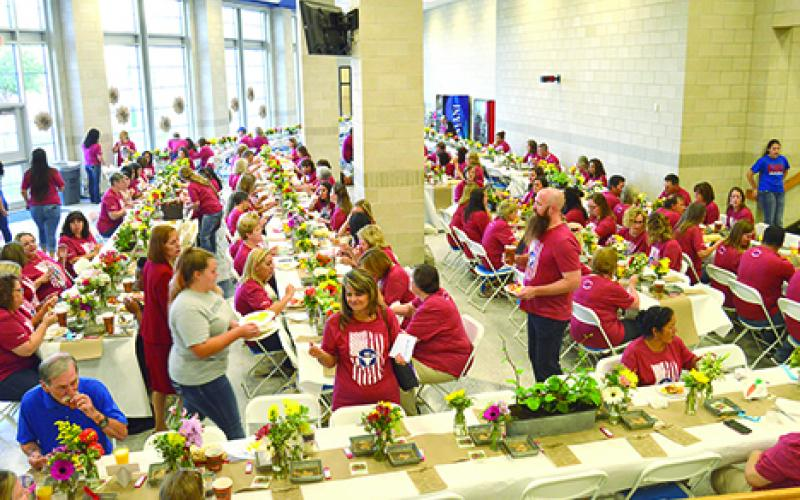 GISD teachers, educators and Graham Chamber of Commerce members enjoy breakfast provided by the chamber and sponsors at the GISD Back to School Staff Breakfast. (Leader photos by Thomas Wallner)