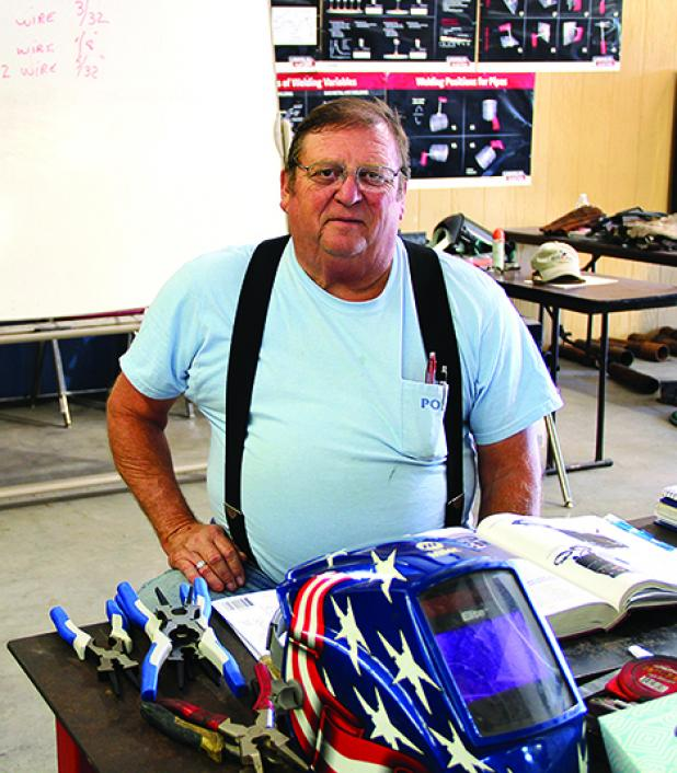 North Central Texas College welding instructor Brian Hearn taught the first dual credit welding course at the Graham campus this semester. (Photo courtesy Elizabeth Deiter, NCTC)
