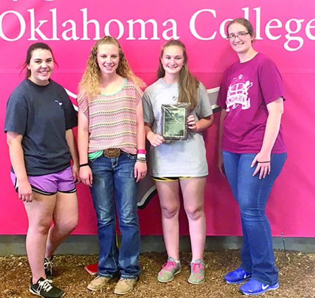 Young County 4-H members who competed in livestock judging at Northern Oklahoma College, Tonkawa, Okla., on July 18 included, l-r, Shanna Gleason, Phoebe Rogers, Victoria Richards and Amanda Richards.