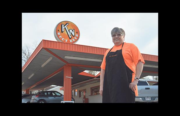 Manager of the KN Root Beer restaurant Thelma Casteel stands in front of the longtime Graham business and one she has called home for 46 years. Casteel will be leaving KN on Feb. 1 after working at the restaurant since she was only 20 years of age. Leader photo by Thomas Wallner