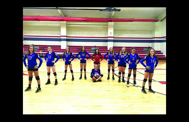 From left, Marilyn Milton, Leah Hollingsworth, Ashton Reese, Addison Kimberling, Sarah Sanders, (sitting) Edith Branch, Hannah Isom, Lilly Gregory, Aubrey Iles and Morgan Patterson make up the Graham Junior High 8th grade A team that will compete at the Graham Junior High volleyball tournament on Saturday, Oct. 1. (Courtesy photo)