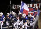 The Steers take the field for their 59-0 bi-district victory over Hillsboro on Thursday night.