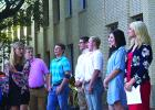 Graham High School Student Council officers get ready to present the 79th annual DAR flag-raising ceremony, held Wednesday morning at GHS. Shown here are, l-r, Molly Talbott, Jeff Hazlett, Kolton Gough, Joel Jones, Cy Holt, Elizabeth Routon, Madi Meacham and Jessica Burgess.