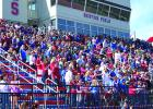 Spectators fill the stadium at Newton Field during the GHS Homecoming pep rally on Thursday afternoon.