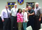 Shown during the Graham Kiwanis Club installation of 2017 officers are, l-r: Past President Kyle Anderson, Treasurer Shannon Bozeman, Secretary Julie Erb, President-elect Bridget Barnhill, President Gary Riley, and Director John Paclik.  Courtesy photo