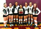 The Graford Lady Rabbits celebrate their 2nd place honors at the Poolville volleyball tournament Aug. 18 and Aug. 20. Shown, l-r, are: Rachel Ray, Sunni Lemley, Esmeralda Balvantin, Betsy Lizalde, Taylor Penn, Lacie Bell and Rebecca Richardson. (Courtesy photo)
