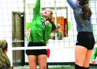 Kelsi New got a hold of one and dodged the blocker for a spike against the Tigerettes of Jacksboro last Tuesday.