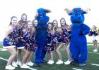 The Graham High School cheerleaders, along with the Ol' Blue mascots posed during the Booster Bash.