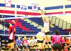 Baylee Loomis went up for a block against the Lady Coyotes. Loomis led the team in blocks with six.
