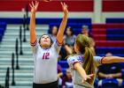 Marleigh Sanders led the Lady Blues with 21 assists in Tuesday's win in Windthorst over the Lady Trojans. Sanders added 17 digs and three aces in the win.  (Leader photo by David Flynn)