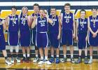 Members of the 8th grade Graham Junior High boys basketball team pose for a team photo after winning the Stephenville Tournament this past weekend. Pictured from left to right, Zack Martin, Easton Wolfe, Trent White, Daniel Gilbertson, Hunter Lanham, Gage Faulk, Raider Horn, Damien Zemsky, Luke Holland, Austin Bryant and head coach oach Trey Kramer. Courtesy photo
