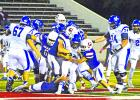 Graham's defense was all over this Krum Bobcat Friday night, but the back-and-forth scoring ended too soon for the Steers, with Krum taking the game 42-35 in the last seconds of the 4th quarter. Leader photo by Thomas Wallner